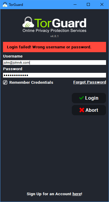 TorGuard - Login Credentials not accepted when choosing WIREGUARD Tunnel Type - 002.png